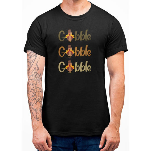 Black t-shirt that says gobble gobble goblle with turkeys on it