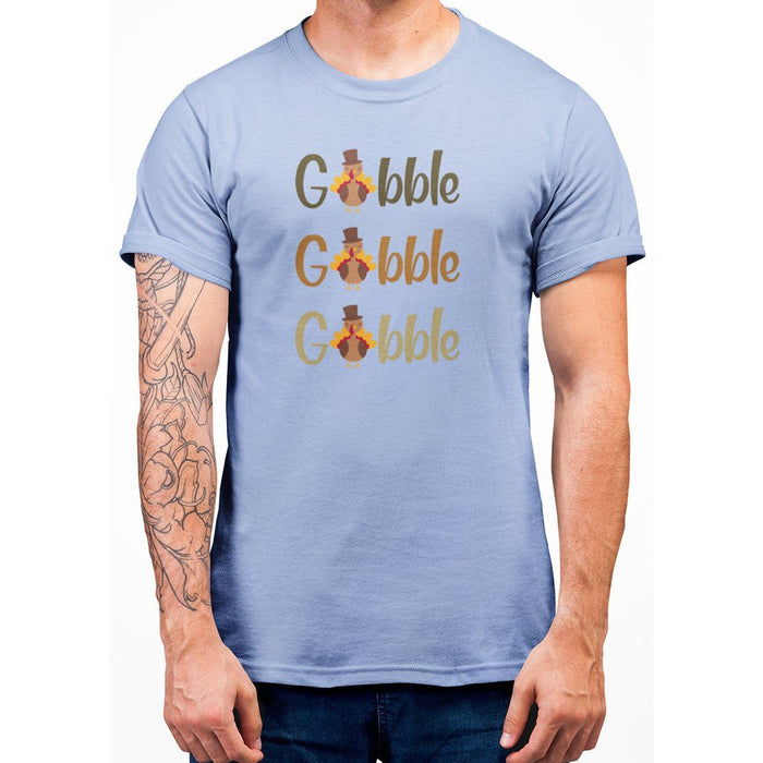 Light Blue t-shirt that says gobble gobble goblle with turkeys on it