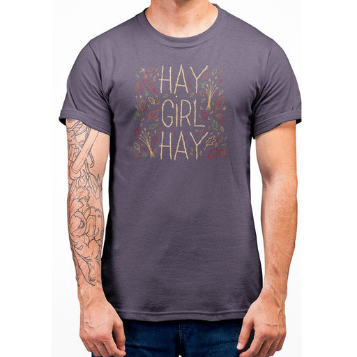 Berry t-shirt with yellow text hay girl hay and images of leaves