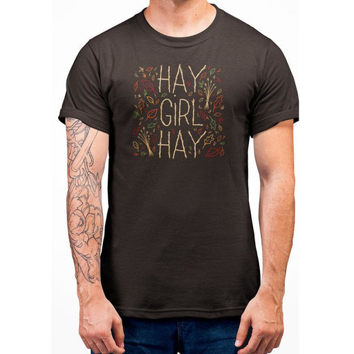 Leaf Brown t-shirt with yellow text hay girl hay and images of leaves