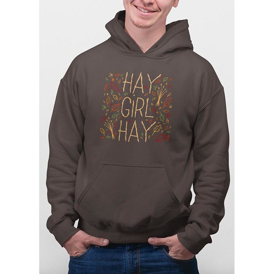 Twig Brown hoodie with yellow text hay girl hay and images of leaves