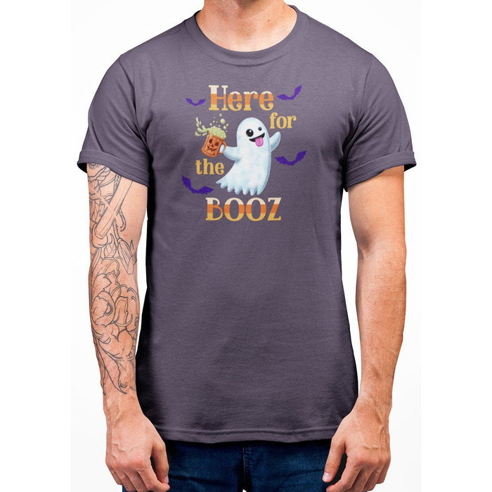 Berry unisex t-shirt with image of ghost holding a beer and orange text here for the booz