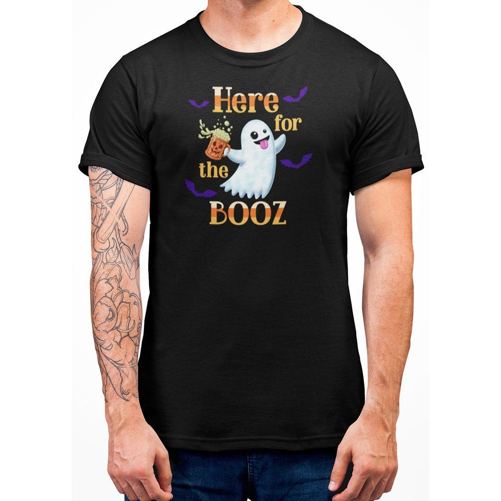 Black unisex t-shirt with image of ghost holding a beer and orange text here for the booz