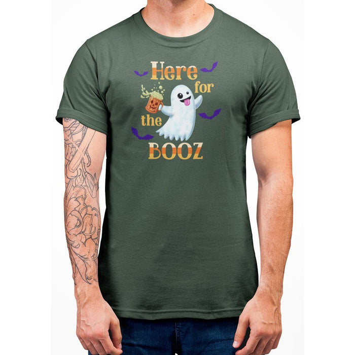 Forest Green unisex t-shirt with image of ghost holding a beer and orange text here for the booz