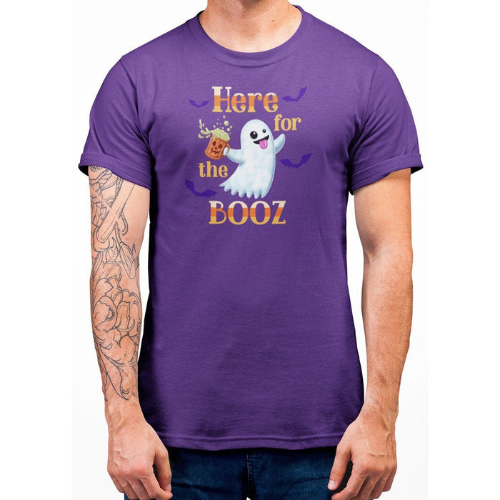 Purple unisex t-shirt with image of ghost holding a beer and orange text here for the booz