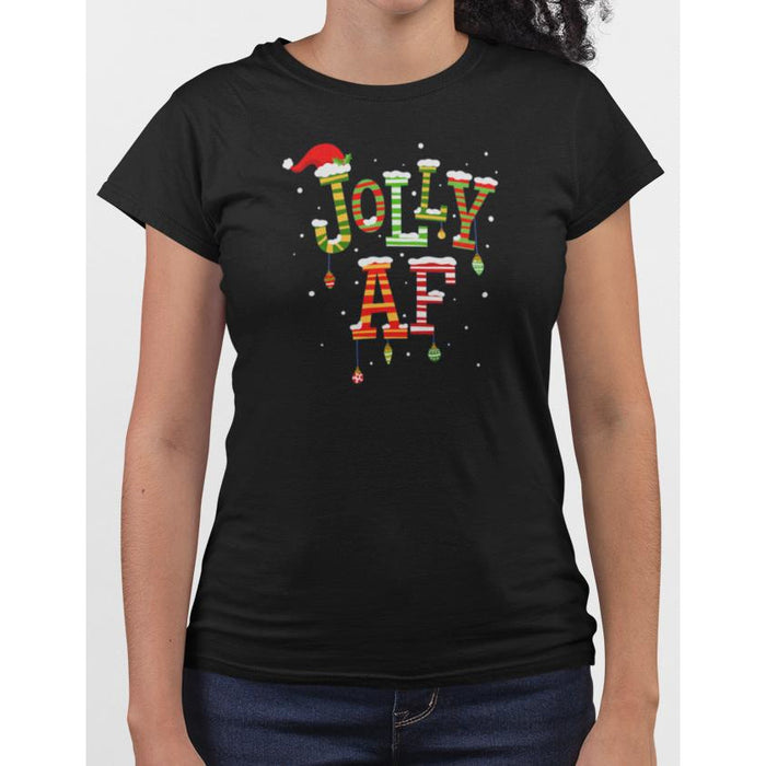 Ladies black t-shirt with christmas text Jolly AF