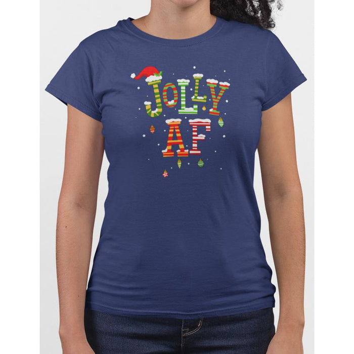 Ladies navy blue t-shirt with christmas text Jolly AF
