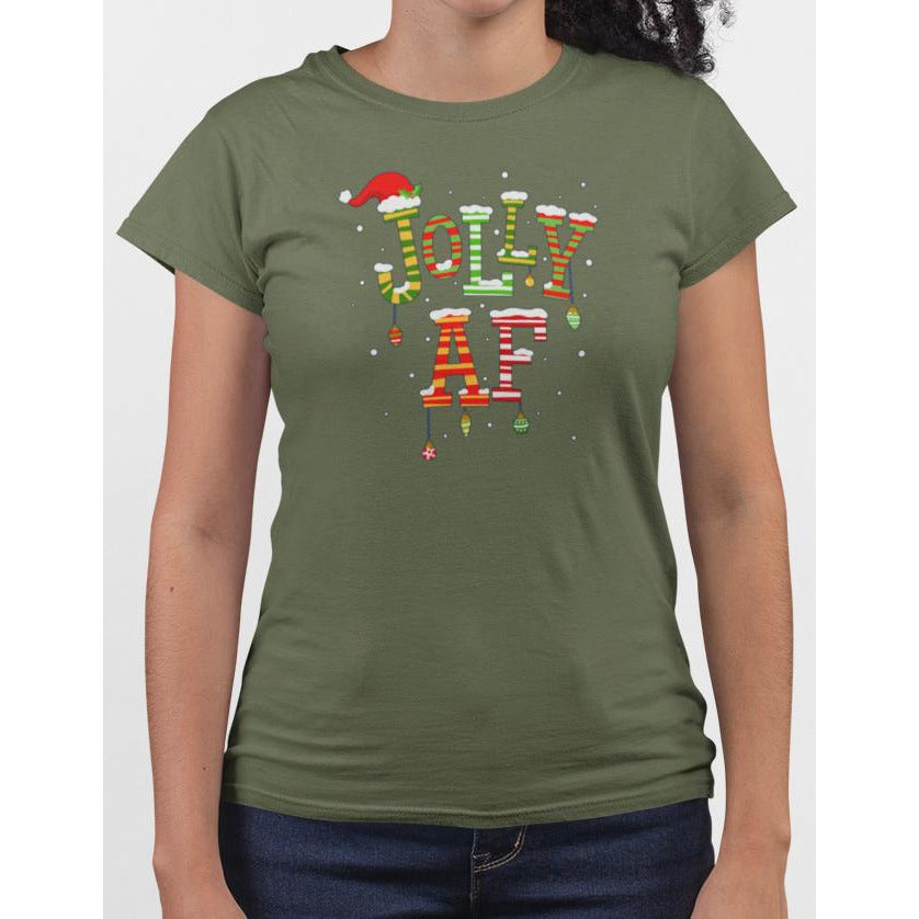 Ladies olive t-shirt with christmas text Jolly AF