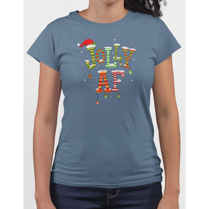 Ladies steel blue t-shirt with christmas text Jolly AF