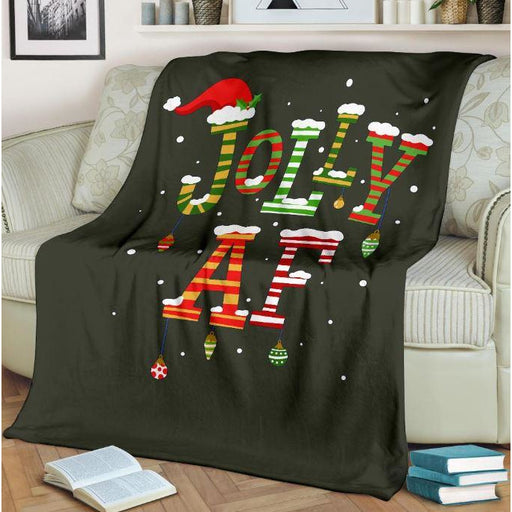 Jolly AF Christmas Throw Blanket