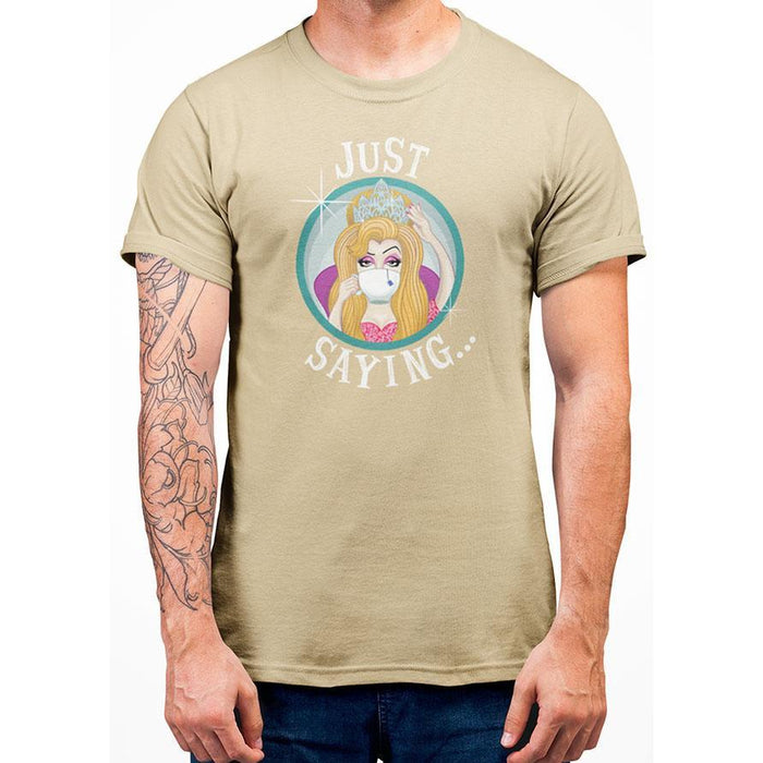 Yellow Haze 100% cotton t-shirt with image of lady holding crown and white text just saying