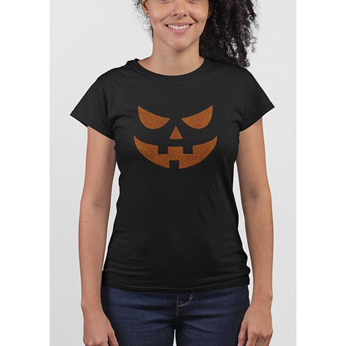 Ladies black t-shirt with image of pumpkin face in orange glitter