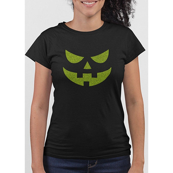 Ladies black t-shirt with image of pumpkin face in green glitter