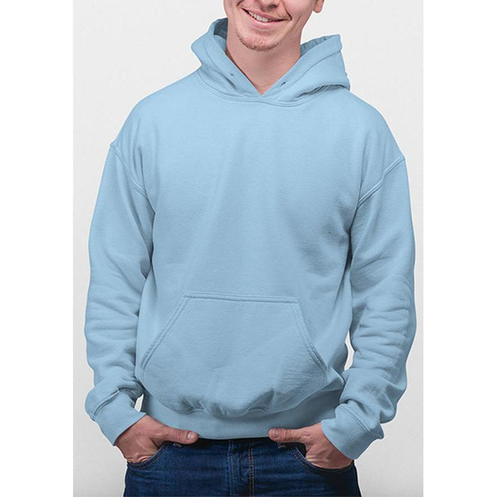 Light Blue hanes hoodie 50% cotton, 50% polyester