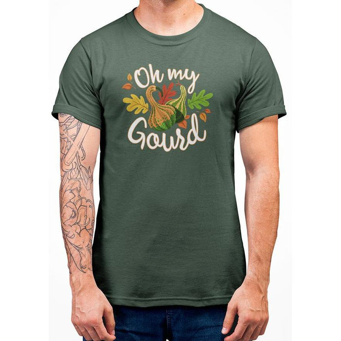 Military Grene tshirt with white test oh my gourd and imaged of gourd & leafs