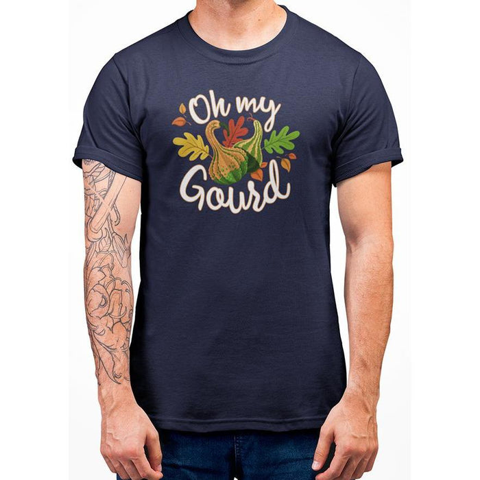 Navy Blue tshirt with white test oh my gourd and imaged of gourd & leafs