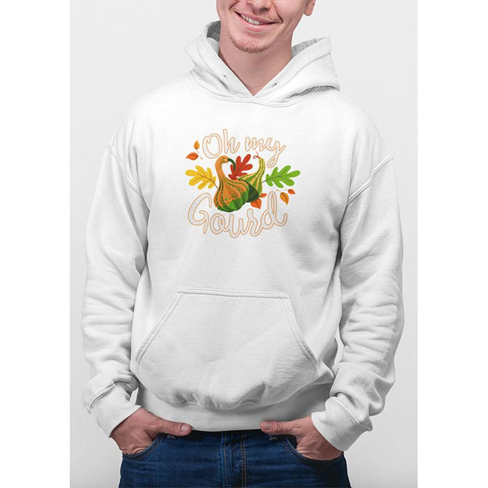 White hoodie with images of gourd and leafs with test oh my gourd