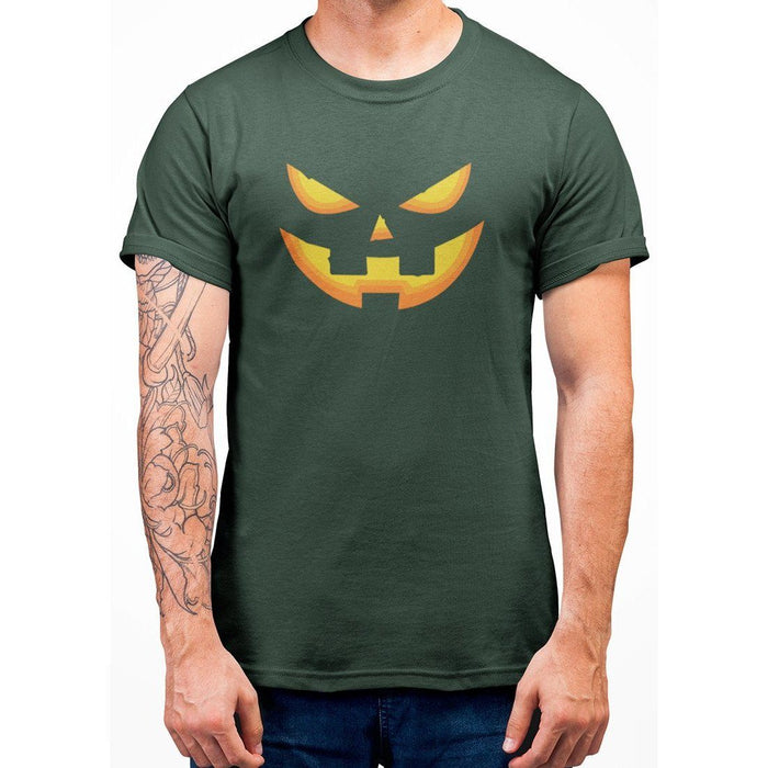 Forest Green tshirt with image of a pumpkin face