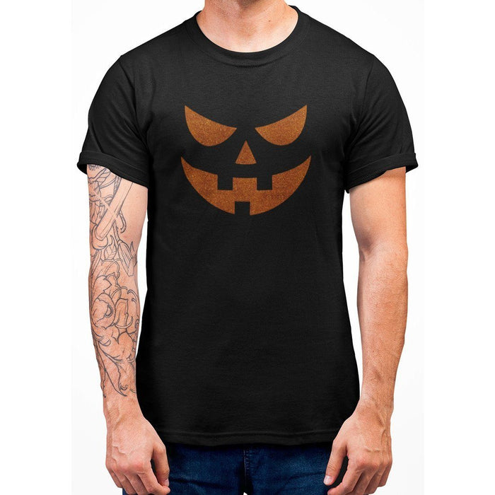 black t-shirt with image of orange glitter pumpkin face