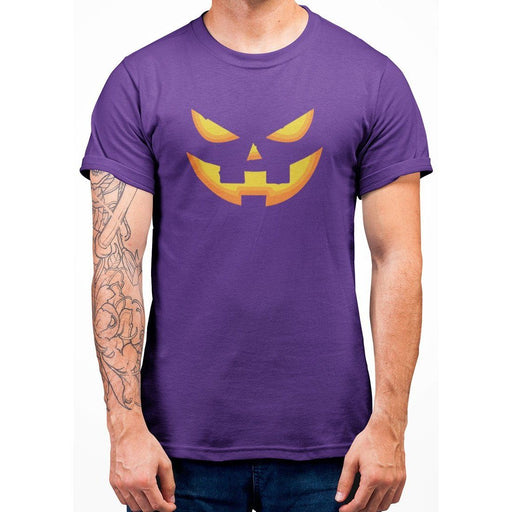 Purple tshirt with image of a pumpkin face