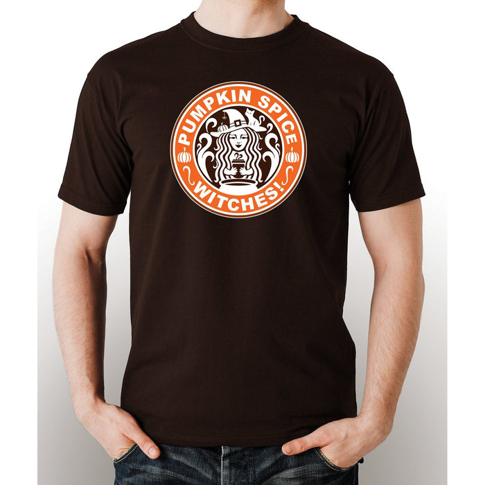 Brown pre-shrunk cotton t-shirt with image of a witch and saying Pumkin Spice Witches in white