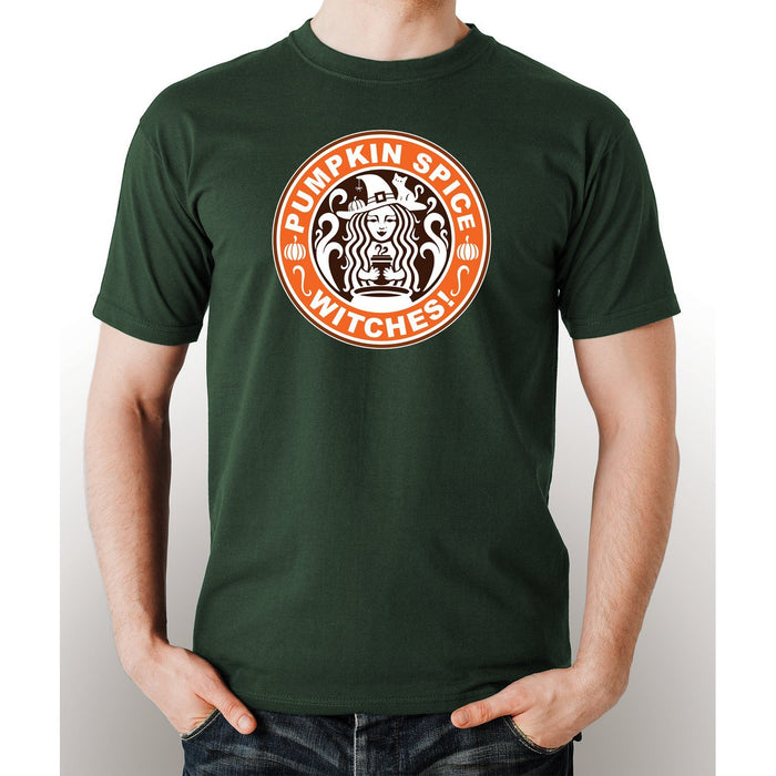 Military Green pre-shrunk t-shirt with image of a witch and saying Pumkin Spice Witches in white