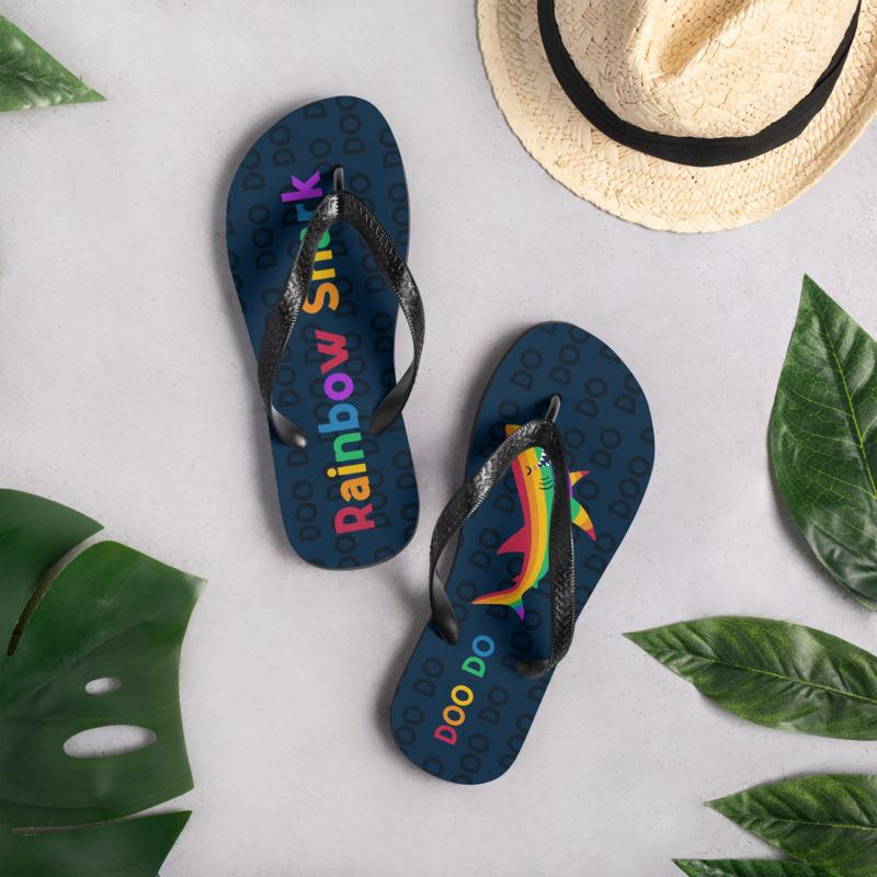 Rainbow Shark Flip Flops - FREE Shipping