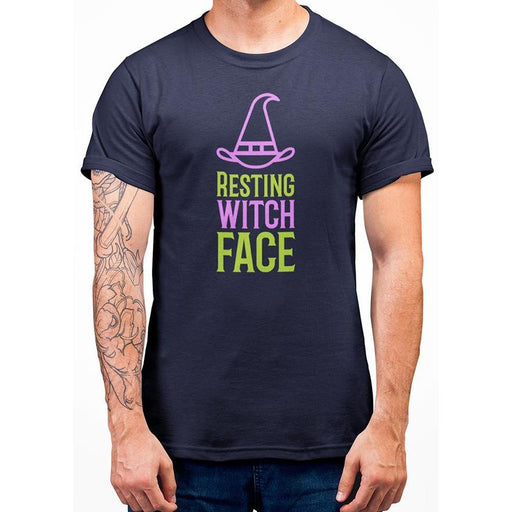 Navy Blue cotton t-shirt with text resting witch face in green and purple