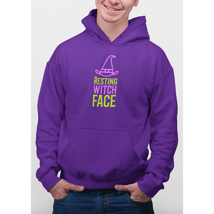 Purple hoodie with purple and green text resting witch face