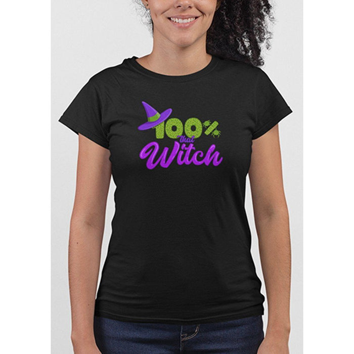 Ladies black tshirt with green and purple test 100% that witch and image of witches hat