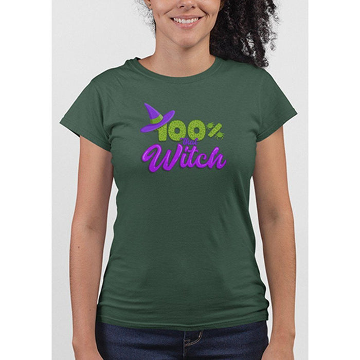 Ladies forest green tshirt with green and purple test 100% that witch and image of witches hat