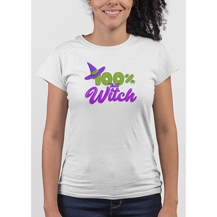 Ladies white tshirt with green and purple test 100% that witch and image of witches hat
