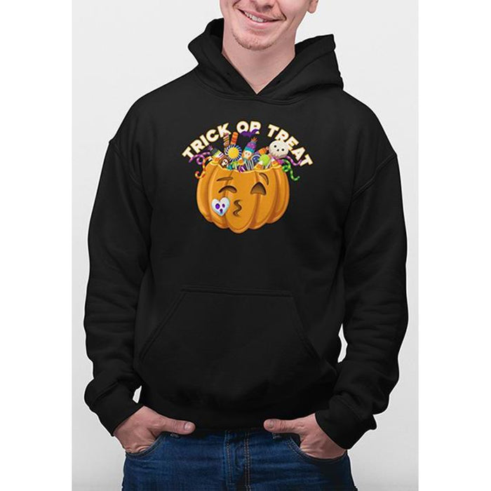 Black halloween hoodie with image of pumpkin full of candy and text trick or treat