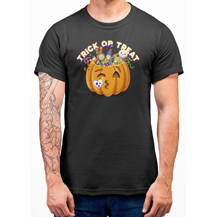 Black halloween t-shirt with image of pumpkin full of candy and text trick or treat