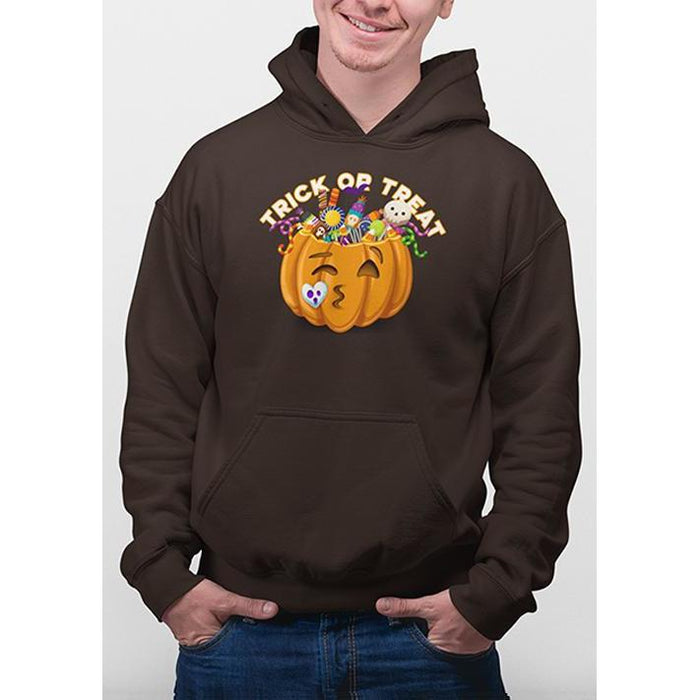 Brown halloween hoodie with image of pumpkin full of candy and text trick or treat