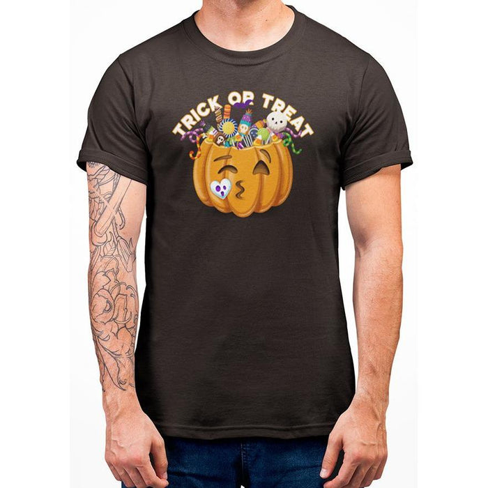 Brown halloween t-shirt with image of pumpkin full of candy and text trick or treat