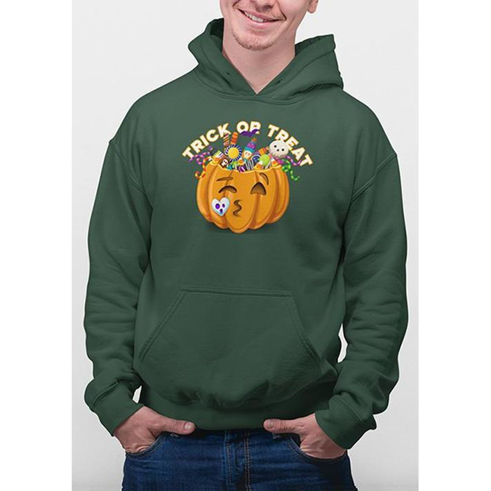 Forest Green halloween hoodie with image of pumpkin full of candy and text trick or treat