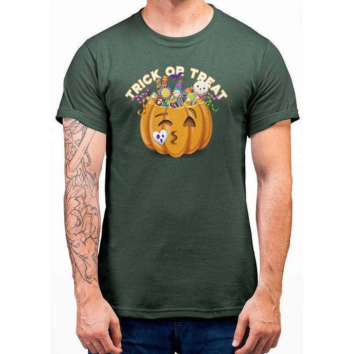 Deep Green halloween t-shirt with image of pumpkin full of candy and text trick or treat