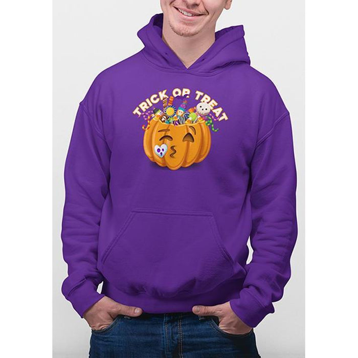 Purplee halloween hoodie with image of pumpkin full of candy and text trick or treat