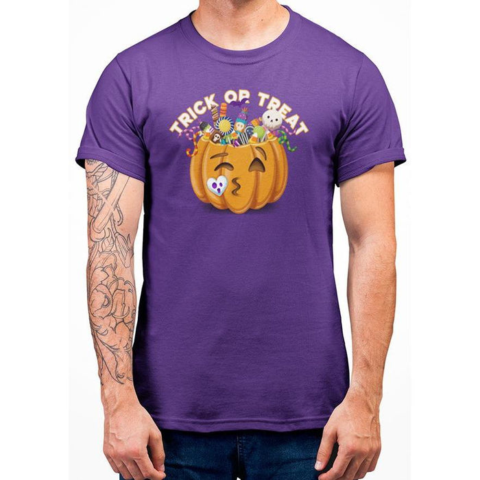 Purple halloween t-shirt with image of pumpkin full of candy and text trick or treat