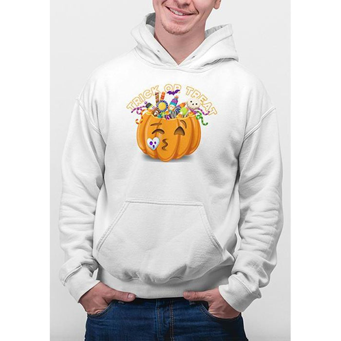 White halloween hoodie with image of pumpkin full of candy and text trick or treat
