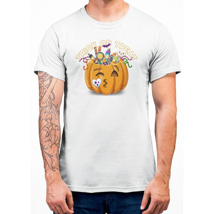 White halloween t-shirt with image of pumpkin full of candy and text trick or treat