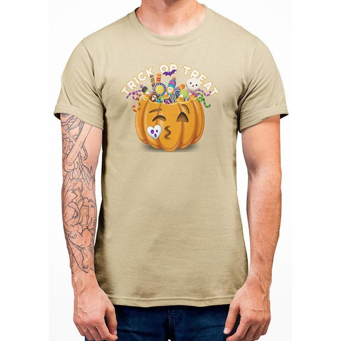 Yellow Haze halloween t-shirt with image of pumpkin full of candy and text trick or treat