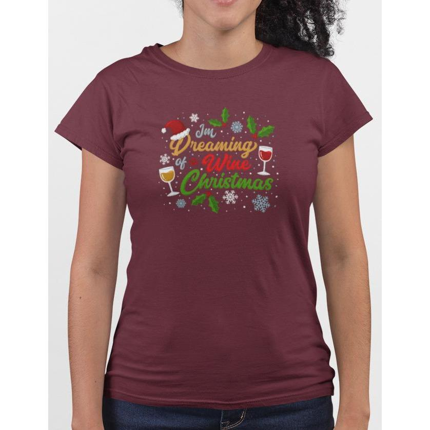 Plum cotton t-shirt with wine glasses & snow flakes, text I'm Dreaming Of A Wine Christmas