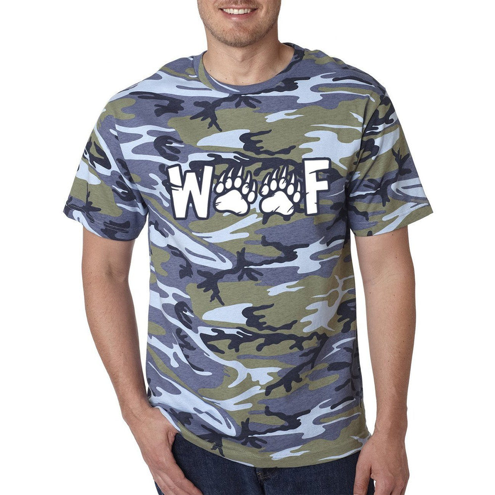 Blue Camo t-shirt with image white text woof