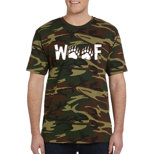 Green and Brown Camo t-shirt with image white text woof