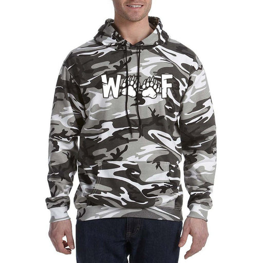 Black and Grey  Camo Hoodie with text in white Woof