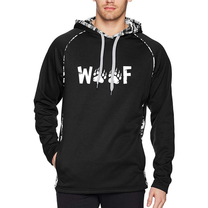 Black camo hoodie with white text woof