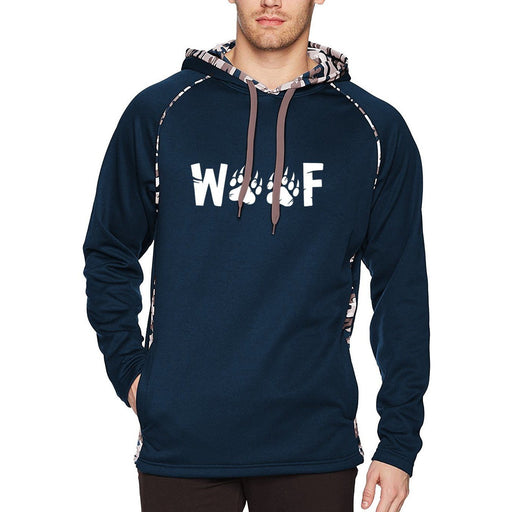 Navy Blue camo hoodie with white text woof