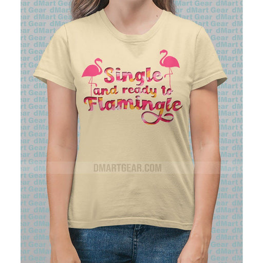 Ladies cotton Spring Yellow t-shirt with pink flamingos and pink test single and ready to flamingle